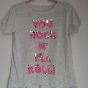 Tops - Sequin hi-low tee shirt
